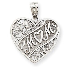 14k White Gold Mom Heart Pendant