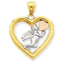 14K Yellow Rose and Rhodium Angel Heart Pendant