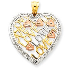 14K Yellow Rose and Rhodium Love Heart Pendant