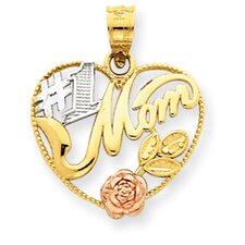 14k Yellow Rose Gold With Rhodium Number 1 Mom Heart Pendant