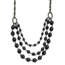 <strong>Jewelryweb</strong> Black-plated Faceted Jet Bead 3-Strand Bib 15 Inch Necklace