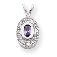 Rhodium-plated February Oval CZ Necklace - 18 Inch