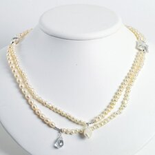 Silver Clear Crystal White FW Cult. Pearl Necklace - 24 Inch- Lobster Claw