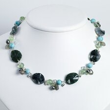 Agate Grn Moss Rk Qtz Labradolite Prehnite Necklace 16 In - Lobster Claw