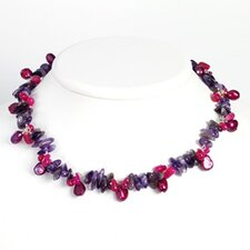 Amethyst Prpl Cultured Pearl Strawberry Qtz Necklace 16 In - Lobster Claw