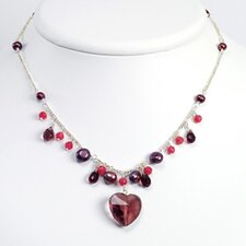 Amethyst Siam Crystal Qtz Prpl Cult. Pearl Necklace 16 In - Lobster Claw