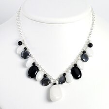 Blk Agate Hematite Blk MOP Onyx White Jade Necklace 16 In - Lobster Claw