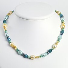 Blue Jade Citrine Multicolored Cultured Pearl Necklace 18 In - Lobster Claw