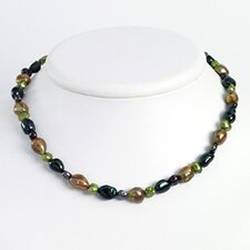 Dk Grn Dk Purple Green Olivine Cultured Pearl Necklace 16 In - Lobster Claw
