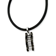 Stainless Steel Black Color IP-plated Bridge Necklace 18 In
