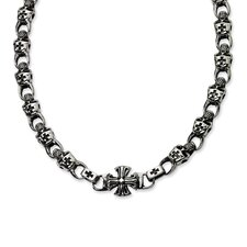 <strong>Jewelryweb</strong> Stainless Steel Skull Necklace - 24 Inch