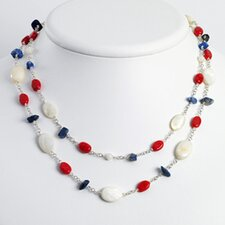 Ste. Silver Lapis MOP Reconstructed Coral Necklace - 16 Inch- Lobster Claw