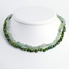 Ster. Silver Green Cultured Pearl Aventurine Necklace - 16 Inch- Lobster Claw