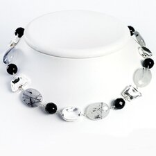 Sterling Black Agate Rutilated Tourmaline Necklace - 16 Inch- Lobster Claw