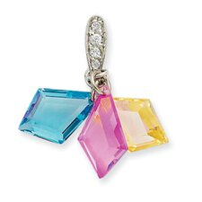 Sterling Silver 3-color CZ PendantSet