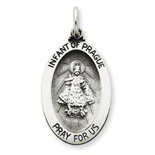 <strong>Jewelryweb</strong> Sterling Silver Antiqued Infant of Prague Medal Pendant