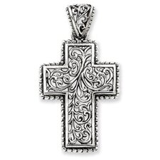 <strong>Jewelryweb</strong> Sterling Silver Antiqued Swirl Cross Pendant