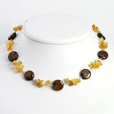 Sterling Silver Brown Stone Citrine Necklace - 18 Inch- Lobster Claw