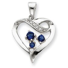 Sterling Silver Clear and Blue CZ Heart Pendant