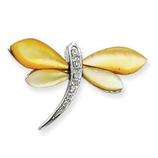 Sterling Silver CZ and Mother of Pearl Dragonfly Pendant