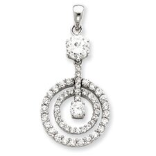 <strong>Jewelryweb</strong> Sterling Silver CZ Chain Slide Pendant