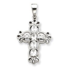 <strong>Jewelryweb</strong> Sterling Silver CZ Cross Pendant