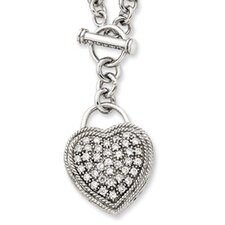 Sterling Silver CZ Heart Dangle Necklace - 16 Inch- Toggle