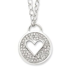 Sterling Silver CZ Heart Necklace - 16 Inch- Lobster Claw