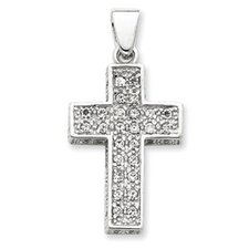 <strong>Jewelryweb</strong> Sterling Silver CZ Latin Cross Pendant