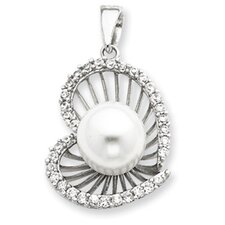 Sterling Silver CZ Simulated Cultured Pearl Heart Pendant
