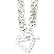 Sterling Silver Fancy Heart Necklace - 17 Inch- Toggle
