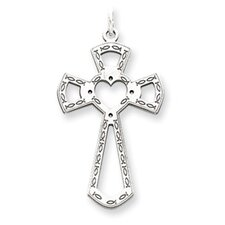 <strong>Jewelryweb</strong> Sterling Silver Laser Designed Cross Pendant