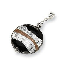 Sterling Silver Murano Glass Striped Pendant
