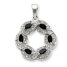 Sterling Silver Onyx and CZ Pendant