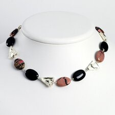 Sterling Silver Onyx Rhondonite Necklace - 18 Inch- Lobster Claw
