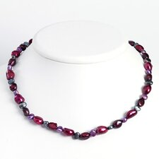 Sterling Silver Purple Grey Cultured Pearl Necklace - 18 Inch- Lobster Claw
