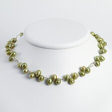 Sterling Silver Silver Green Cult. Cultured Pearl Necklace - 16 Inch- Lobster Claw