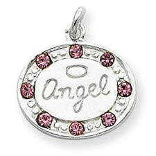 Sterling Silver With swarovski Crystal Angel Pendant