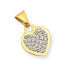 14k Reversible Crystal Heart Pendant