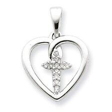 Sterling Silver Diamond Cross in Heart Pendant