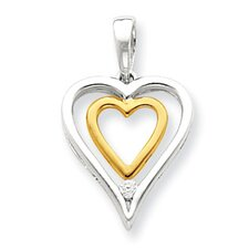 Sterling Silver and Vermeil Diamond Heart Pendant