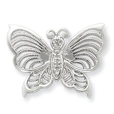 Sterling Silver Rhodium Diamond Butterfly Pendant