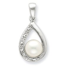 <strong>Jewelryweb</strong> Sterling Silver Rhodium FW Cultured Pearl and Diamond Pendant