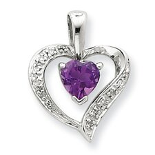 Sterling Silver Rhodium Heart Amethyst and Diamond Heart Pendant