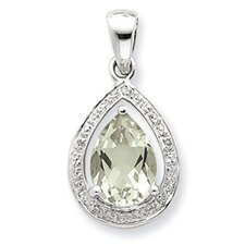 <strong>Jewelryweb</strong> Sterling Silver Rhodium Green Amethyst and Diamond Pendant