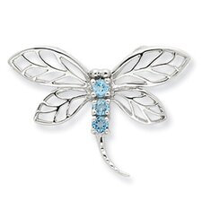 Sterling Silver Rhodium Lt Sw Blue Topaz Dragonfly Pendant