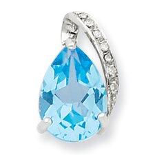 <strong>Jewelryweb</strong> Sterling Silver Rhodium Pear Swiss Blue Topaz Pendant