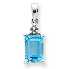 Sterling Silver Rhodium Lt Sw Blue Topaz and Diamond Pendant