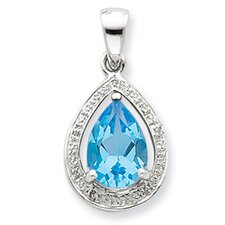 Sterling Silver Light Swiss Blue Topaz and Diamond Pendant