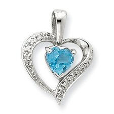 Sterling Silver Heart Swiss Blue Topaz and Diamond Heart Pendant
